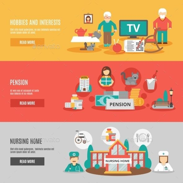 Old people hobbies and interests pension and nursing home horizontal banners set flat vector illustration. Editable EPS and Render