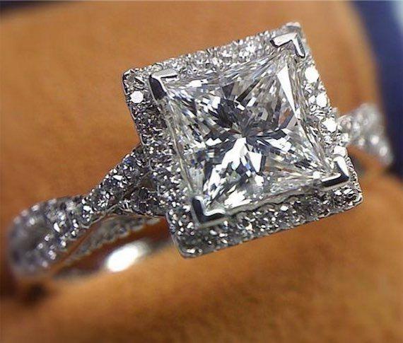 1.5k Verragio Princess Cut Diamond Engagement Ring