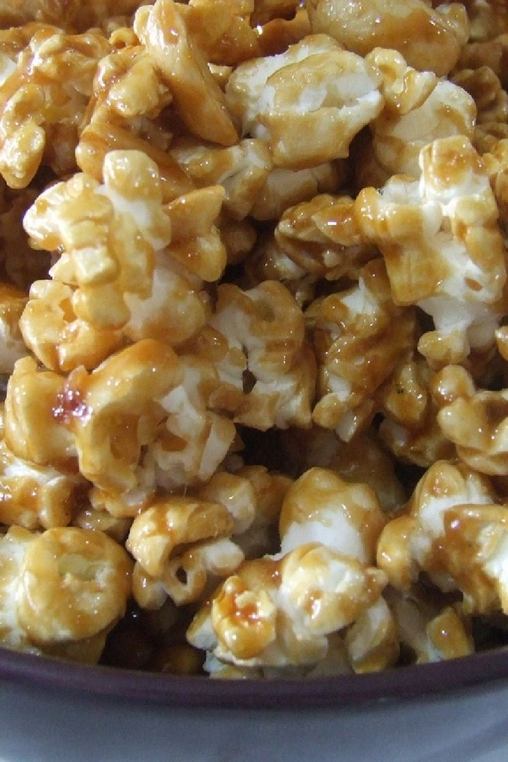 My Amish Friend's Caramel Corn Recipe with Dry Roasted Peanuts, Brown Sugar, Light Corn Syrup, and Vanilla Extract