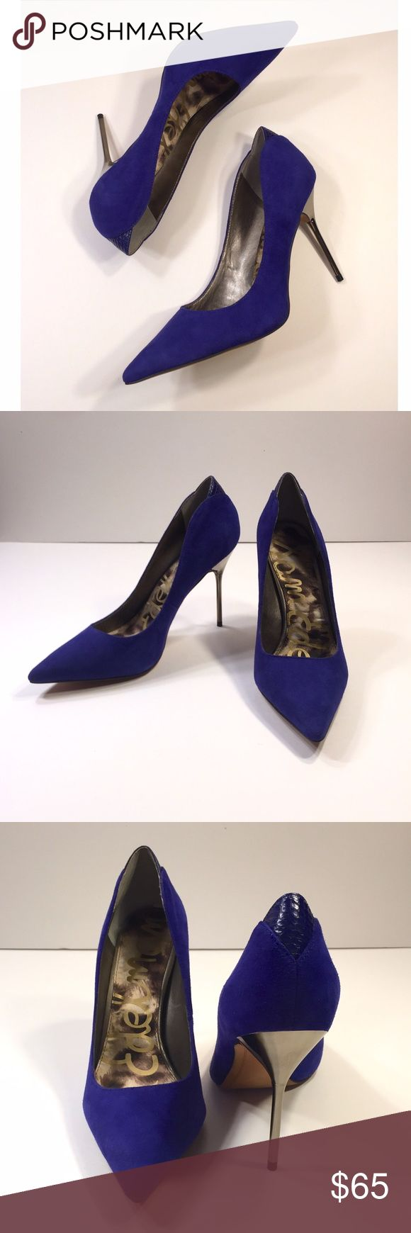 """Sam Edelman Danielle Cobalt Metallic Heels Bright and beautiful cobalt suede pump featuring snakeskin embossed leather detail at back and metallic stiletto heel. New in box, never worn. Heel height: 4"""". Leather upper, balance manmade. Sam Edelman Shoes Heels"""
