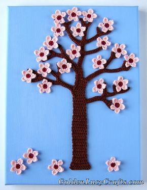 Spring Crochet Wall Art, decoración de la pared, cerezo en flor