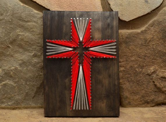 The Holy Cross - DIY String Craft Idea Up for something religiously gorgeous? Then use up few nails, the unused wooden planks and sufficient strings. Help your kids crafts a beautiful red cross on the wooden base and hand it upon your room to glam it up.