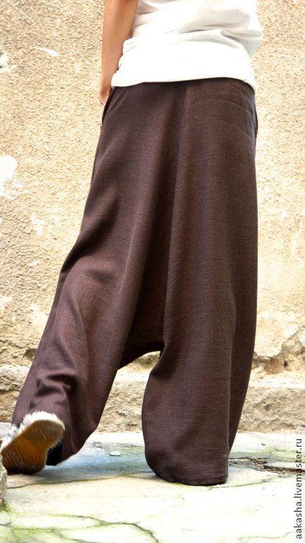 Купить Льняные брюки  Brown Harem Pants - коричневый, шаровары, брюки, льняные брюки