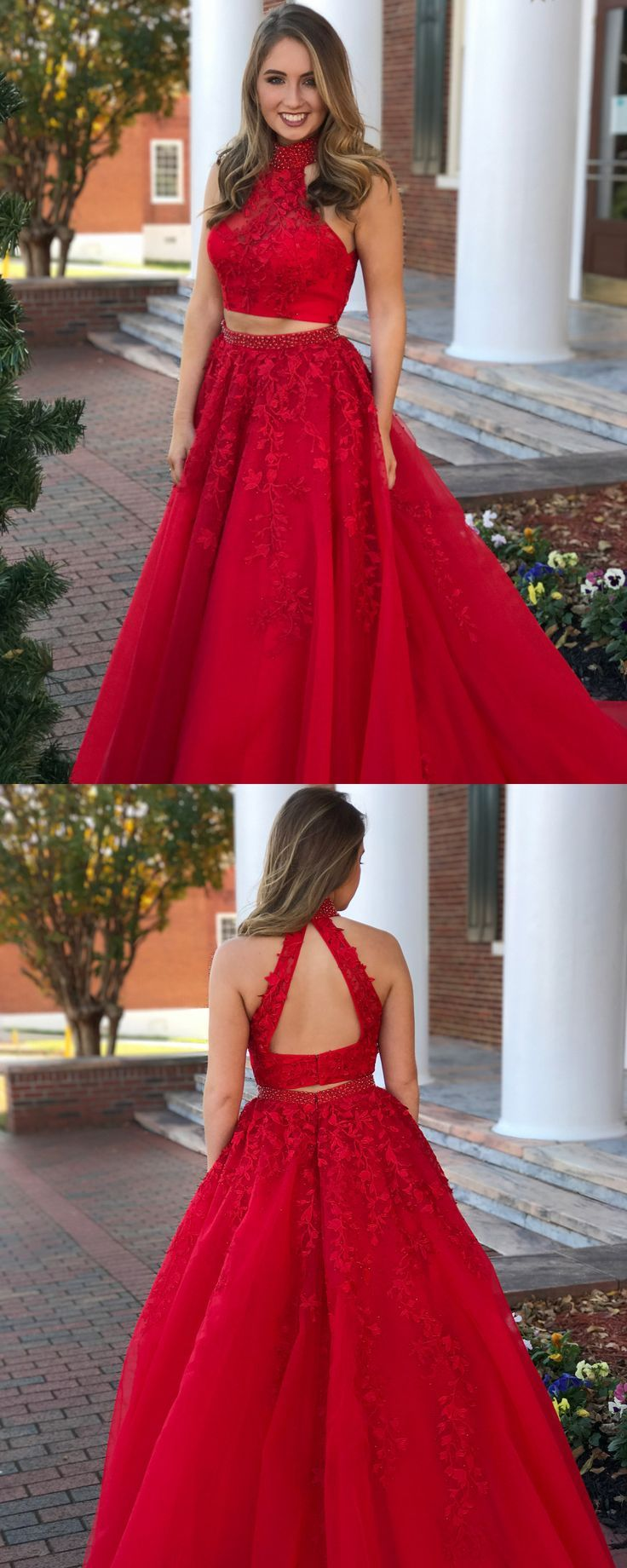 daa5884f873 Two Piece High Neck Open Back Pearled Dark Red Prom Dress with ...