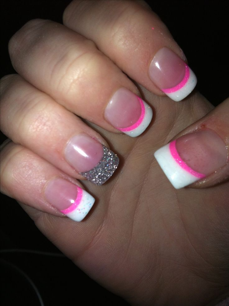 French Tip Acrylic with pink line and glitter accent nail! Love them!