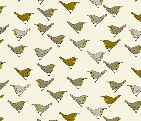 Mine Brown Birds Fabric By Holli Zollinger On Spoonflower