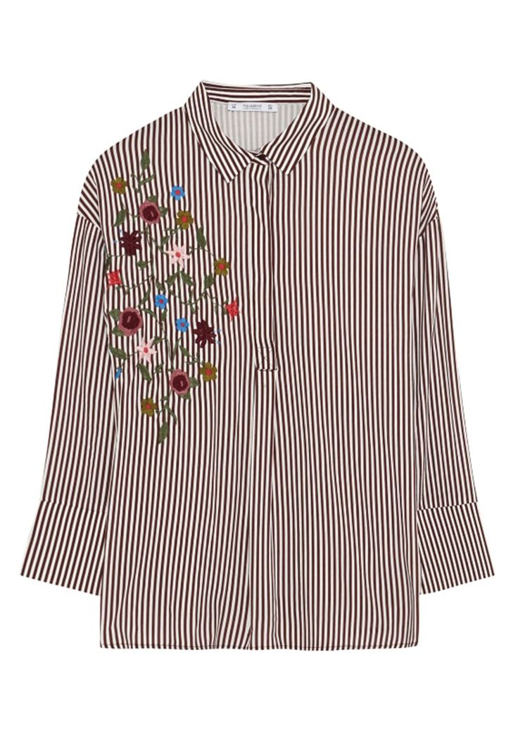 Gestreifte Bluse mit Blütenstickereien