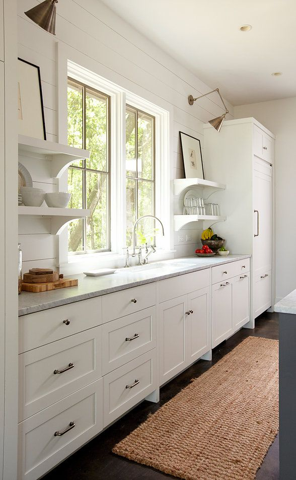 White Shiplap Walls And Open Shelving Replace Upper Cabinets In