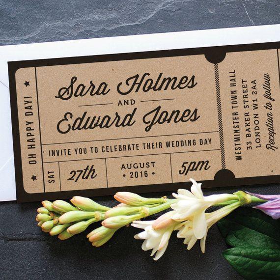 Rustikal-Recycling-Ticket Hochzeitseinladung / von twoforjoypaper