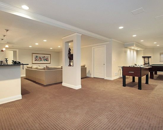 appealing traditional basement with wall to wall basement carpet
