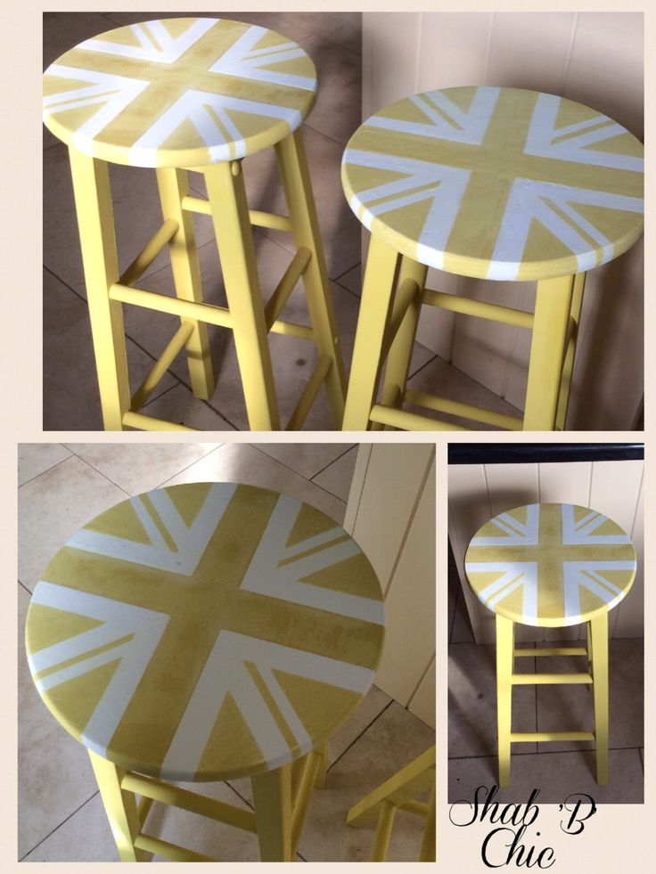 I am obsessed with painting the Union Jack - 2 bar stools painted with ASCP English Yellow and Old White
