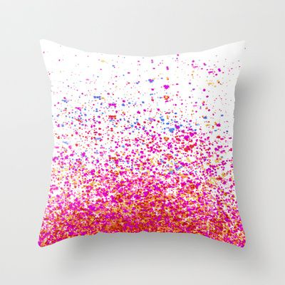could get plain white pillows and decorate them? tye dye splatter would be so cool! But I like this to