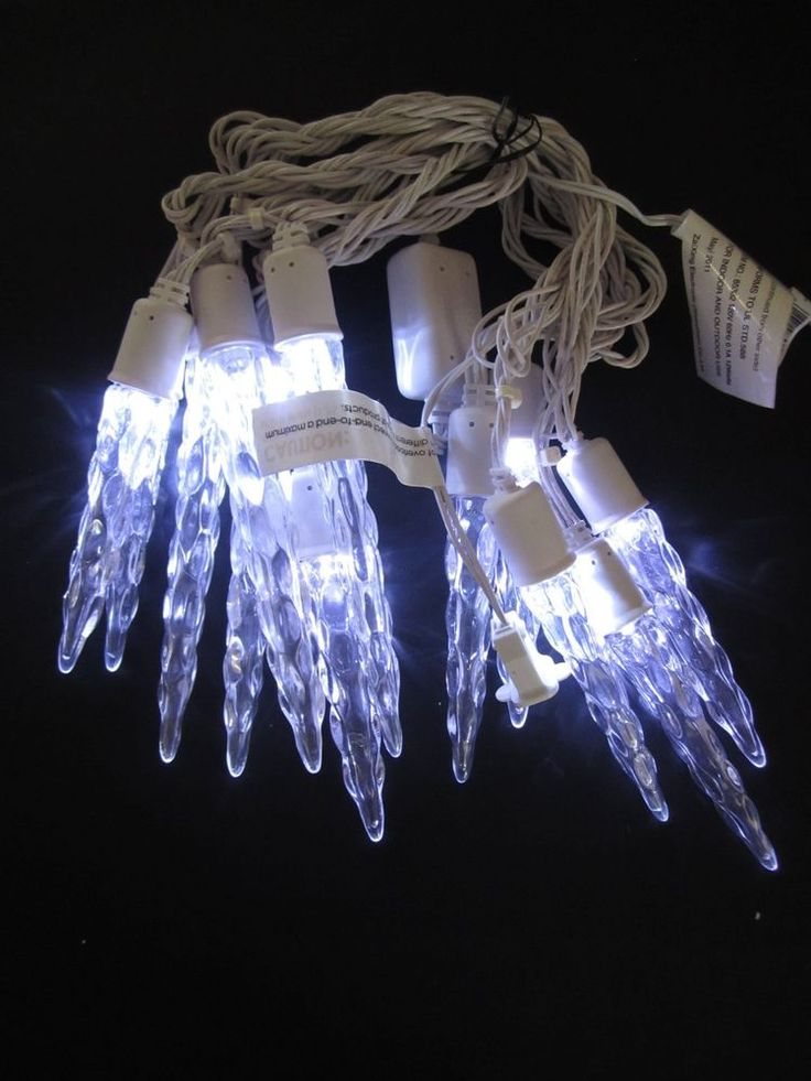 LED Light Show Christmas Light String Brilliant White Icicle Lights 12.5 Feet