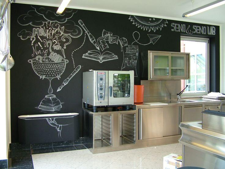 """Lavagna e gesso una parete di una cucina con un messaggio emblematico """"I tuoi dubbi sono l'inchiostro del nostro progetto!"""" #blackboard #handmade #lavagnaegesso #fattoamano #Seno&Seno  #handwriting"""