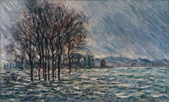 Claude Monet, L'inondation (The Flood), 1881. Oil on canvas, 60 x 100 cm. Private collection