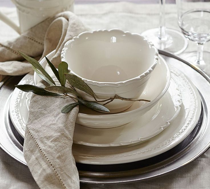 Pottery Barn Napoli Dinnerware.  10 settings of each item isn't too much to ask, right?  AC