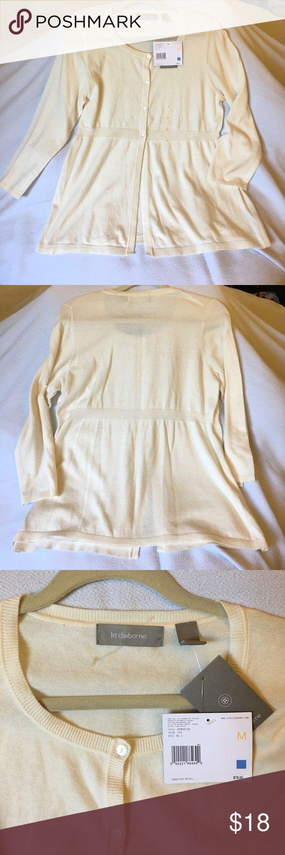 NWT Liz Claiborne sweater cardigan in cream color Brand new Liz Claiborne light sweater cardigan in cream color Liz Claiborne Sweaters Cardigans