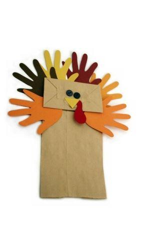 Thanksgiving handprint turkey puppet by Tami:  #HappyThanksgiving #Thanksgiving #handprint #keepsake #kids #children #simple #easy #DIY #home #weekend #craft #art #decoration #decor #kindergarten #preschool #prek #toddler #turkey