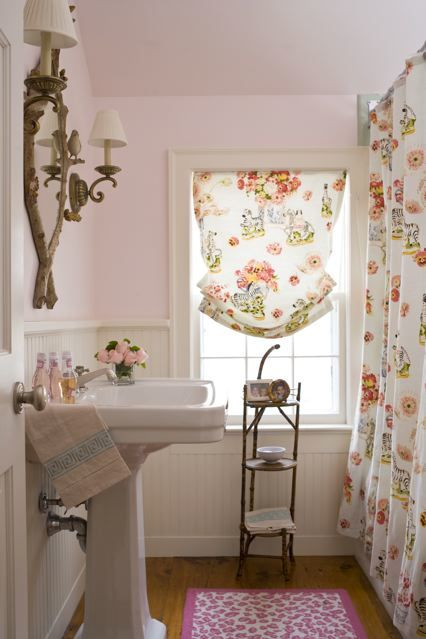 The Awesome Web Pink bathroom by Connecticut based designer Annie Mahoney Apartment Bathroom DecoratingSmall