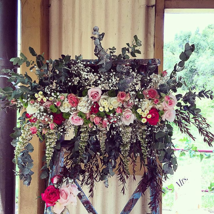 A close up of the florals we did on our vintage ladder arbour on Thursday. Such a beautiful and friendly couple. Wishing them every happiness. #flowers #rustic #wedding #mr #Mrs #bride #groom #innerwest #drummoyne #sydney #roses #pretty