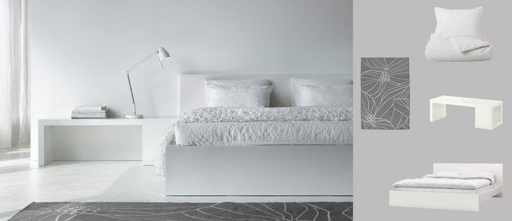 MALM Bett mit LACK Couchtisch und OFELIA VASS Bettbezug und Kissenbezügen, alles weiss
