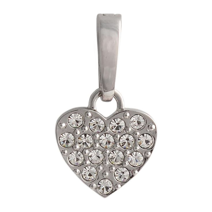 Silver Crystal Heart Droplet Leave a little sparkle wherever you go. This Silver Crystal Heart Droplet can be added to a chain and worn as a single pendant, added to a droplet station for a statement piece, or even added to bangle or chain bracelet!.  Product Material - Zinc Alloy, Imitation Rhodium