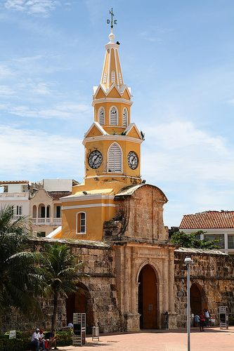 Puerta del Reloj  Cartagena, COLOMBIA    (by Gianluigi.Bresaola).. Clock tower. Once the main entrance of Cartagena.