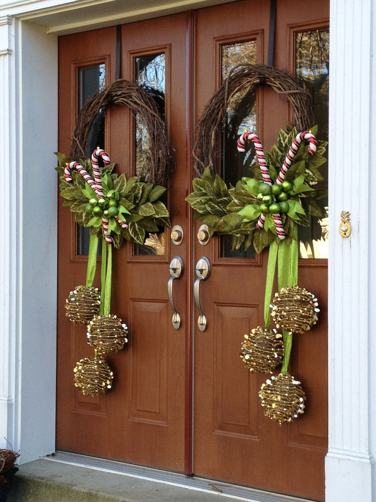 Doors Wreaths Christmas Front Double