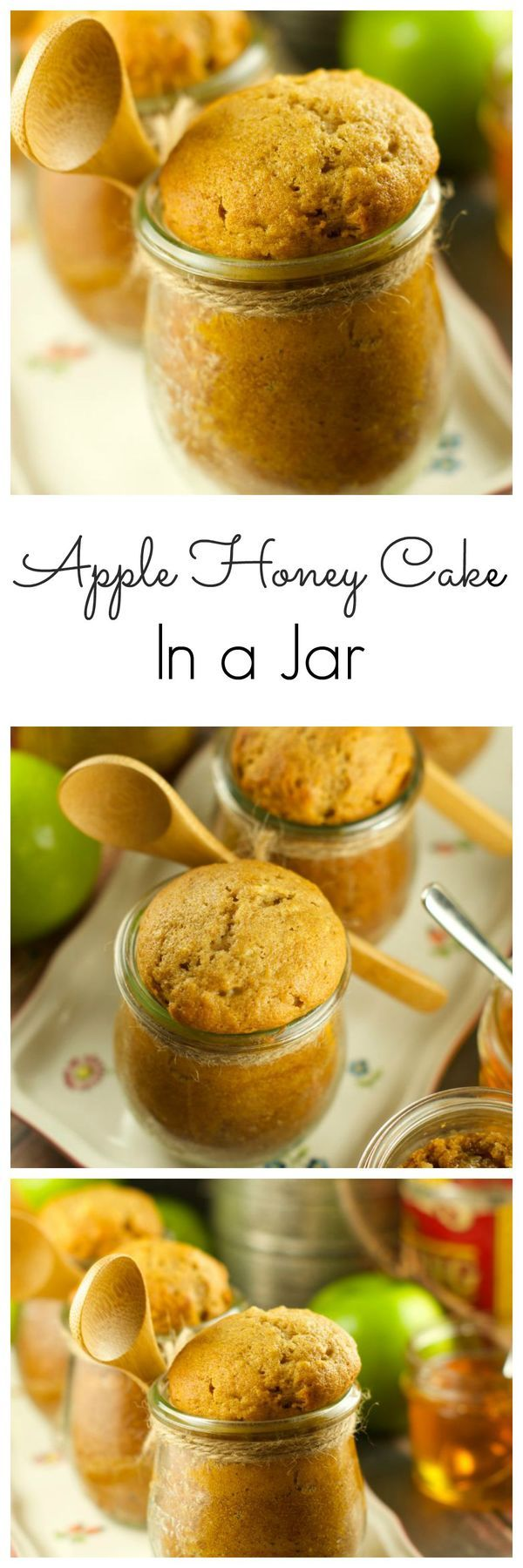 Apple Honey Cake In A Jar: celebrate Rosh Hashanah with these delicious & moist apple honey cakes in a jar. Give them out as gifts or serve them for dessert. More jewish recipes at livingsweetmoments.