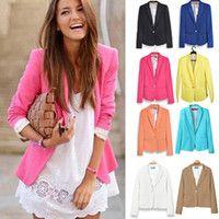 Cheap Blazer Women Feminino New 2014 Candy Color Jackets Suit One Button Slim Yellow Ladies Blazers Work Wear Blaser Feminino K0712014 Autumn