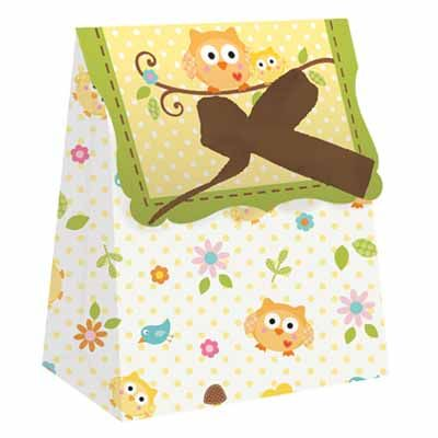 Happi Tree Owl Baby Shower Favor Bags - 12 count