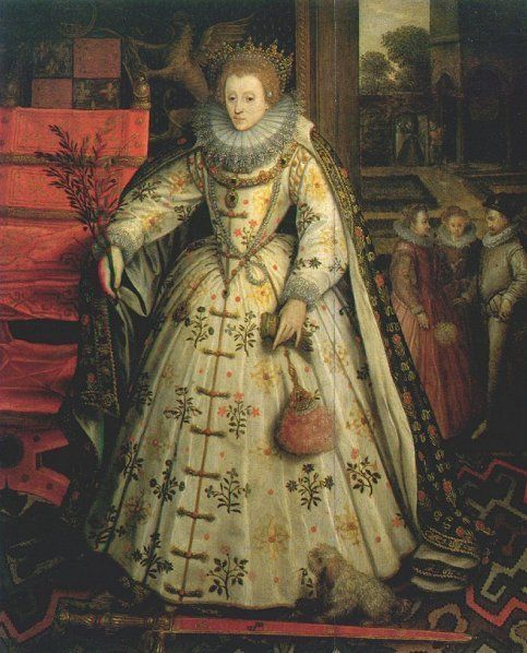 Elizabeth I: The Peace Portrait, 1580-5, by Marcus Gheeraerts the Elder. In this portrait, the queen is the harbinger of peace. She holds an olive branch in her left hand and a sheathed sword lies at her feet. She is possibly wearing the same headdress, collar and girdle from the 'Ermine Portrait'. Also, both gowns are 'Polish style' with froggings.