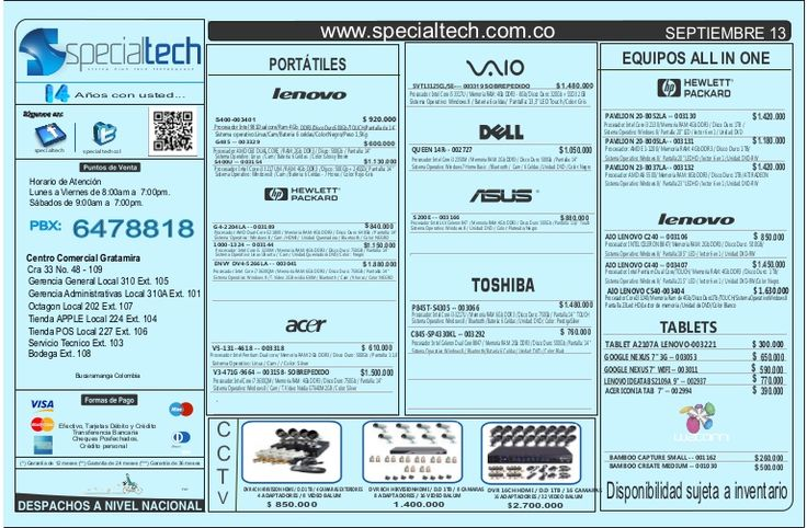 Listado de precios specialtech 13 de septiembre 2013