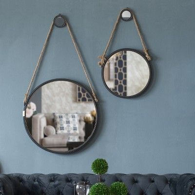 Round Decorative Wall Mirror With Rope Hanger A B Home White