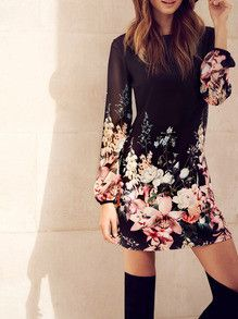 Floral Black Dress with Long Sleeves Party Dress