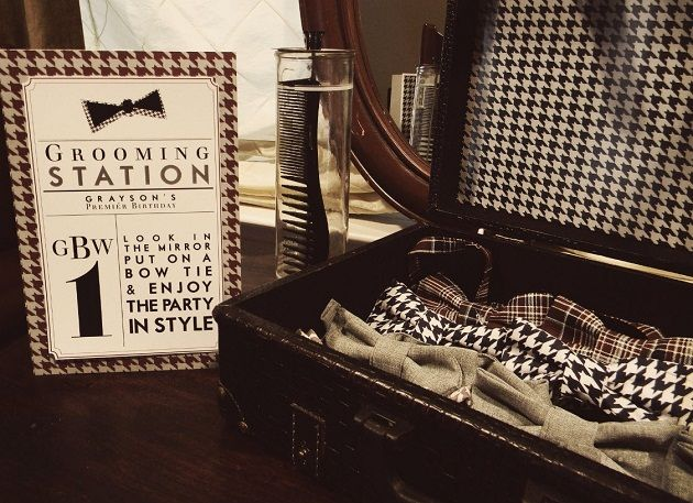 """Pack a mini vintage suitcase for the groom with a gift and note and his """"day of"""" accessories to get dressed out of+++++++ as suprise--- or do together, pack your own stuff then let partner finish it off before u part ways for the night"""