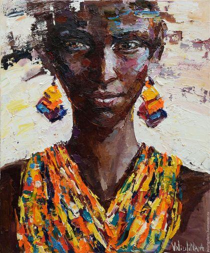 Oil painting  / Люди, ручной работы. Ярмарка Мастеров - ручная работа. Купить Портрет Африканки. Handmade. Коричневый, портрет маслом, масляная живопись