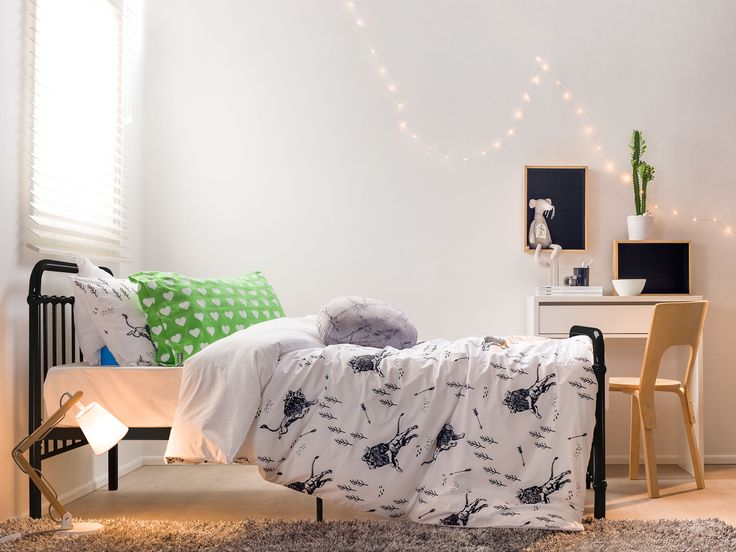 A Mocka Sonata Bed looks great styled into a boys bedroom with a Jordi Desk, some Shadow Boxes and a Hudson Chair. Bedding from Little Yawn.