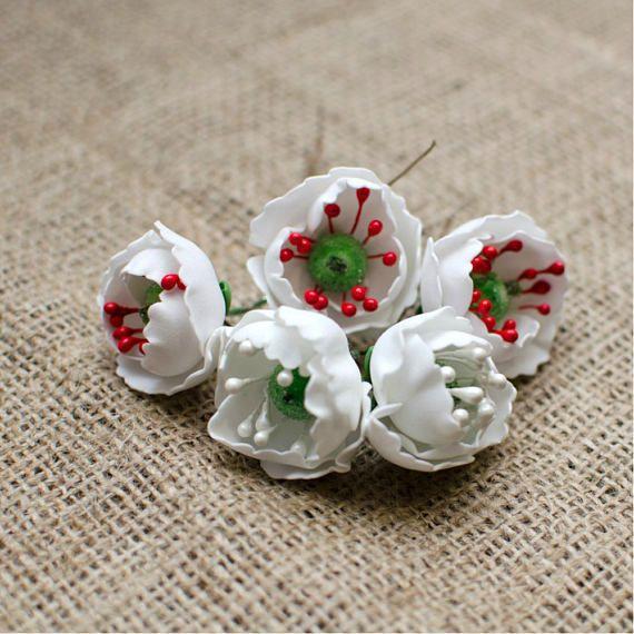 White Poppy Foam Flowers 6 pcs Poppy Flower Jewelery making