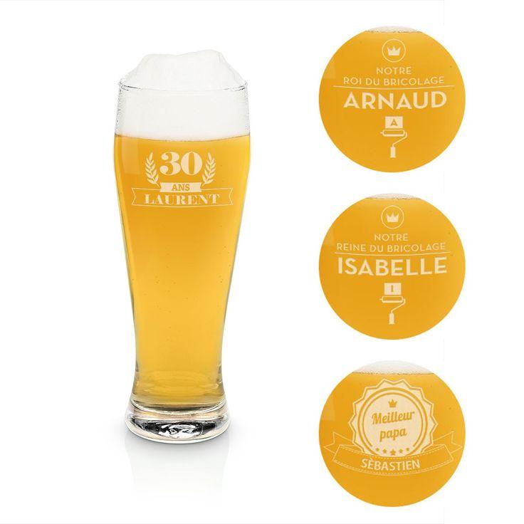 Idee cadeau Verre à bière blanche personnalisable 0,5L