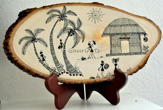 Handmade Warli art on wooden Plank 'A busy day' by GauriArts, $40.00