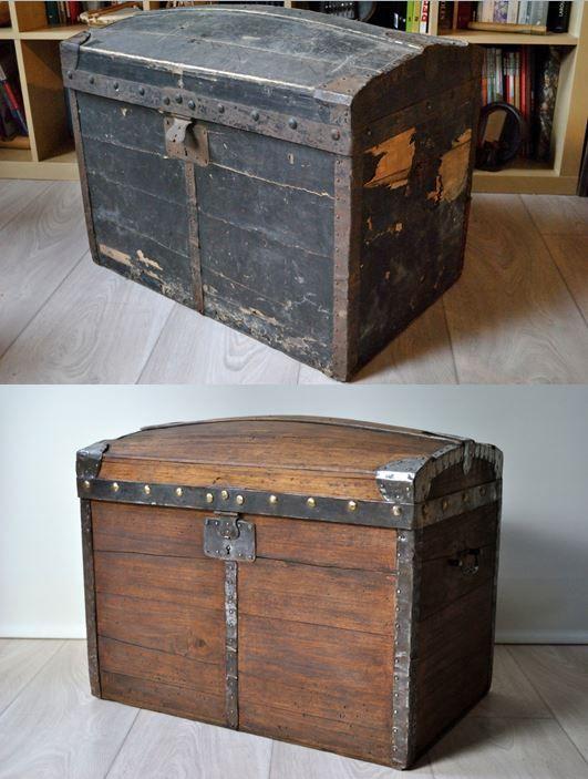 Avant | Après. Ancienne malle en bois