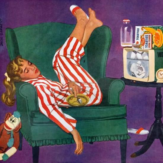 Detail Of Post Toasties Sleeping TV Girl 1957