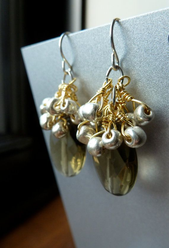 Smoky Crystal Earrings -Handmade