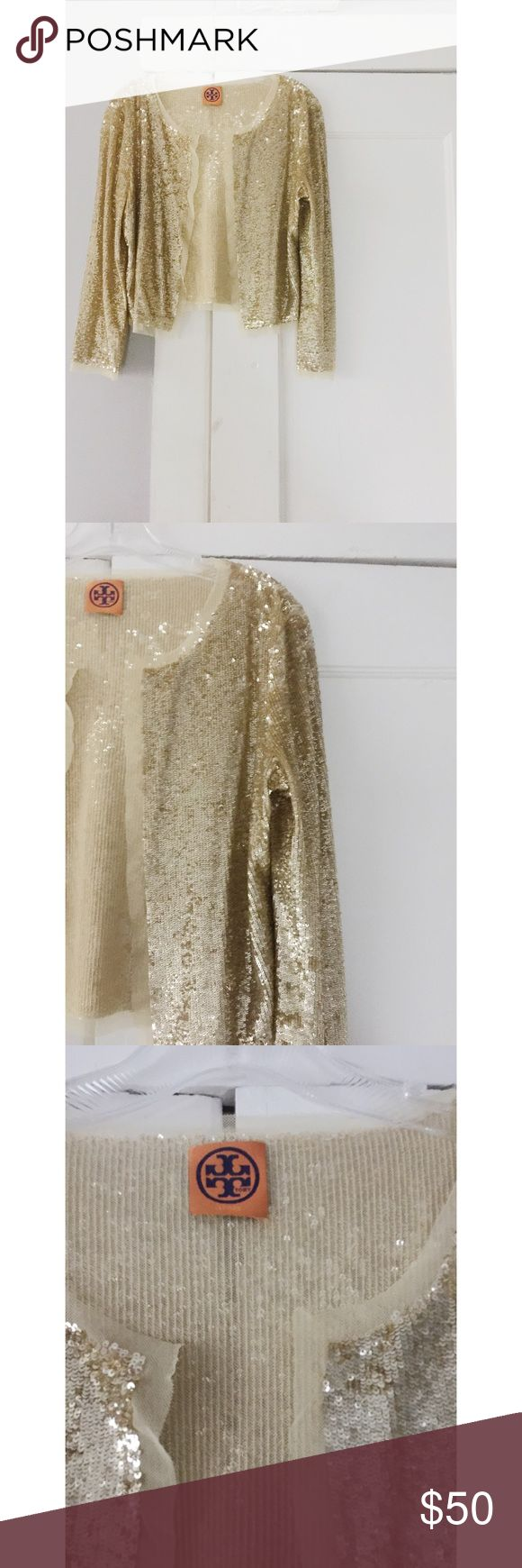 Tory Burch Sequin Cardigan Tory butch gold Sequin Cardigan.  All over gold sequins.  Perfect condition, none missing.   Women's size small. Tory Burch Sweaters Cardigans