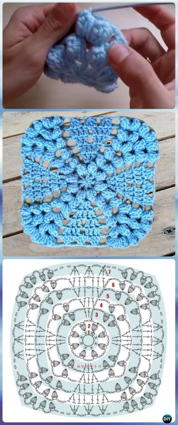 Crochet Popcorn Flower Free Pattern : 448 best images about Crochet Squares LOVE! on Pinterest ...