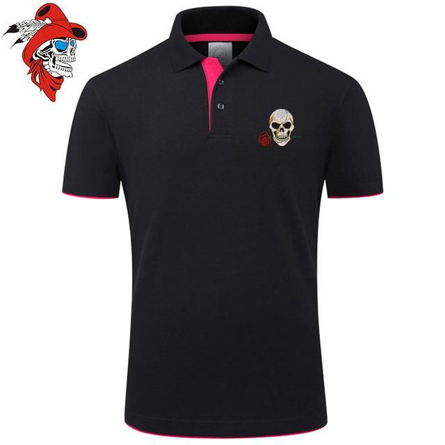 Skull and Rose Embroidered Polo Shirt