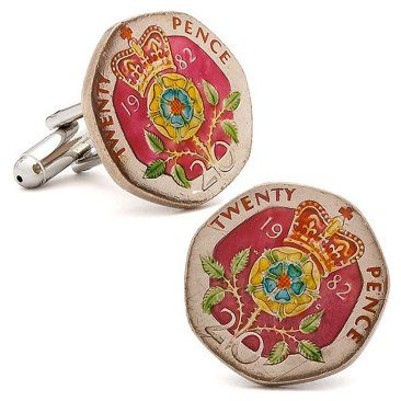 Check out this item at One Kings Lane! British 20 Pence Coin Cuff Links