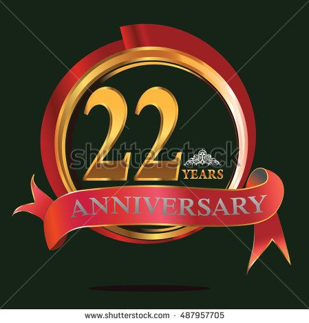 22 years golden anniversary logo with big red and gold ring. anniversary logo for birthday, celebration, wedding and party