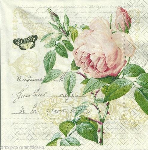 4 x Single Paper Napkins Vintage Style Rose Botanical Floral Decoupage Set | eBay